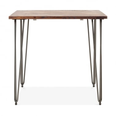 Hairpin Square Dining Table with Solid Wood Top - Gunmetal 80cm