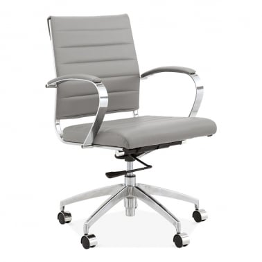 Deluxe Office Chair with Short Backrest - Grey