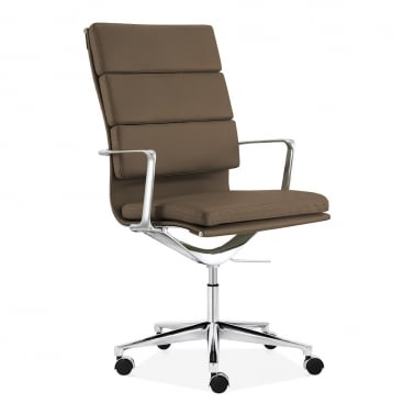 Soft Pad Office Chair with High Back – Coffee