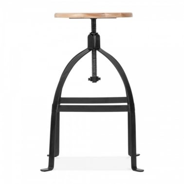 Machinist Swivel Metal Stool with Wood Seat - Black 64-80cm