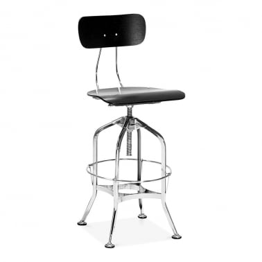 Toledo Style Swivel Bar Stool with Backrest, Chrome 64/74cm