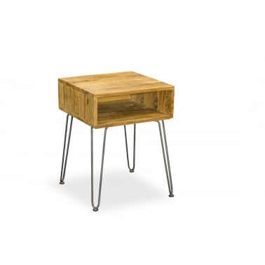 Hairpin Retro Side Table, Solid Mango Wood