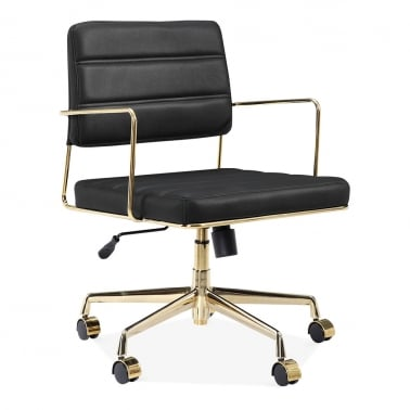 Grosvenor Padded Leather Office Chair - Black / Gold