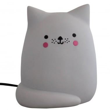Kawaii Style LED Cat Table Lamp, Light Grey