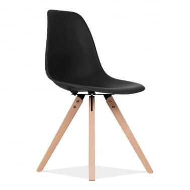DSW Dining Chair with Pyramid Wood Legs - Black