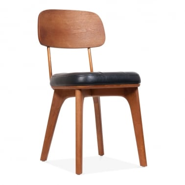 Winchester Upholstered Wooden Dining Chair - Black / Walnut