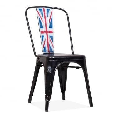 Tolix Style Metal Side Chair - Union Jack Black