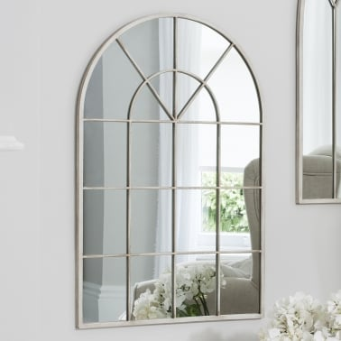 Abbey Window Style Arched Wall Mirror, Cream