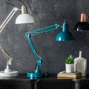 Aldwych Retro Hinged Desk Lamp, Teal