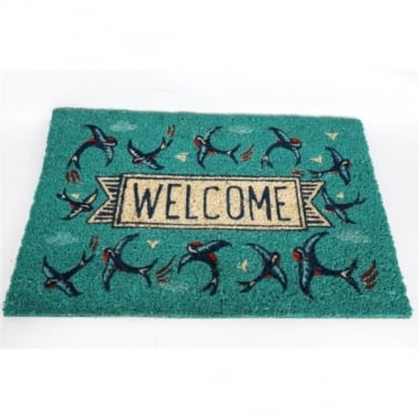 Welcome Swallow Tattoo Door Mat - Blue