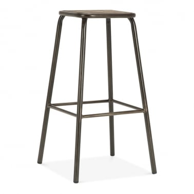 Brooklyn Stool with Wood Seat - Rustic 75cm