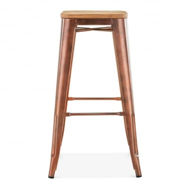 Tolix Style Stool with Natural Wood Seat - Vintage Copper 75cm