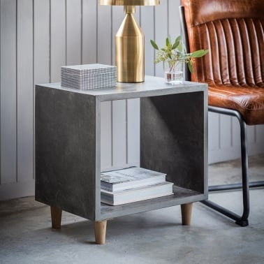 Brooklyn Contemporary Cube Side Table, Concrete