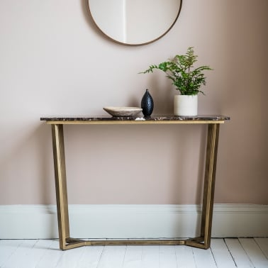 Gatsby Contemporary Marble Console Table, Brown and Gold