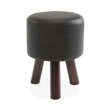 Perry Funky Tripod Low Stool, Solid Wood, Black Faux Leather