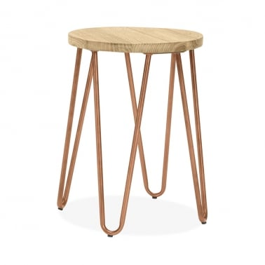Hairpin Metal Low Stool, Solid Elm Wood Seat, Vintage Copper 46cm