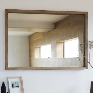 Waldorf Large Rectangle Wall Mirror, Solid Oak