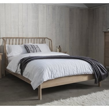 Alpine Contemporary King Size Bed Frame, Oak