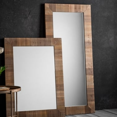 Farmhouse Rustic Full Length Leaner Mirror, Solid Wood