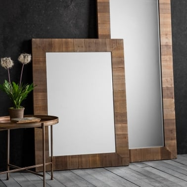 Farmhouse Rustic Rectangle Wall Mirror, Solid Wood