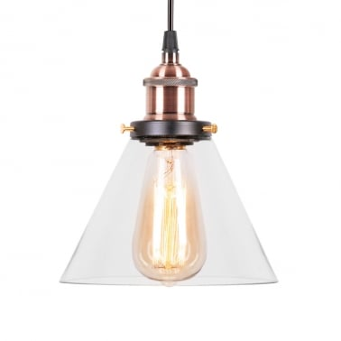 Factory Cone Glass Shade Pendant Light - Antique Copper