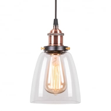 Factory Beaker Glass Shade Pendant Light - Antique Copper