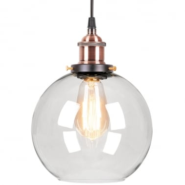 Factory Glass Sphere Pendant Light - Antique Copper