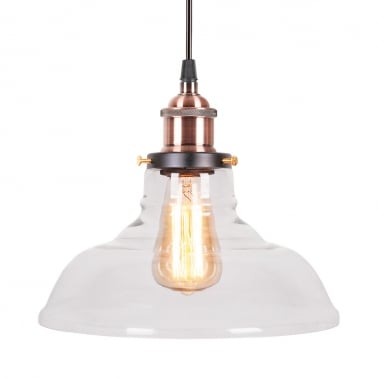 Factory Bowl Glass Shade Pendant Light - Antique Copper