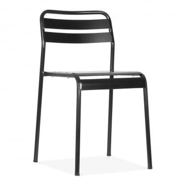 Shutter Stacking Metal Outdoor Chair, Black