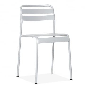 Shutter Stacking Metal Outdoor Chair, Light Grey