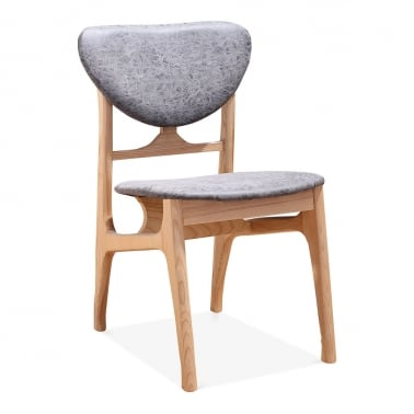 Cabin Retro Dining Chair, Natural Ash Wood, Grey Faux Leather