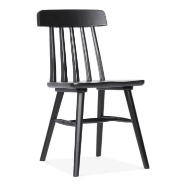 Windsor Rafter Wooden Dining Chair - Black