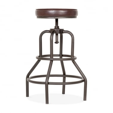 Jet Metal Swivel Bar Stool, Faux Leather Upholstered, Brown 62-75cm