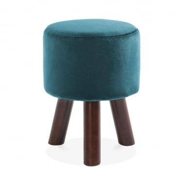 Perry Funky Tripod Low Stool, Solid Pine, Teal Velvet 45cm