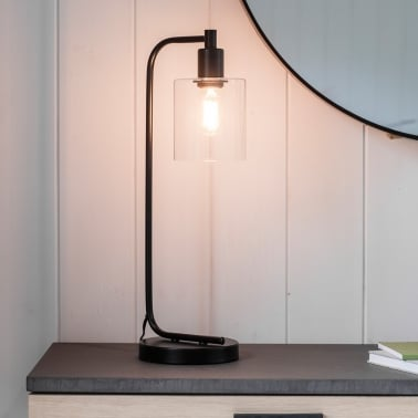 Newton Industrial Metal Table Lamp, Black