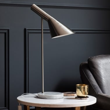 Veda Modern Table Lamp, Chrome and Marble