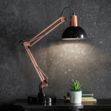 Aldwych Retro Hinged Desk Lamp, Black and Copper