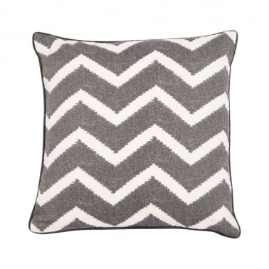 Zig Zag Design Fabric Cushion, Graphite Grey