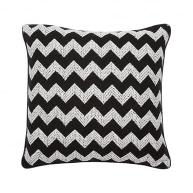Textured Zig Zag Fabric Cushion, Black and White