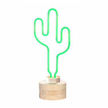 Neon Catus Table Lamp, Wood Base, Green