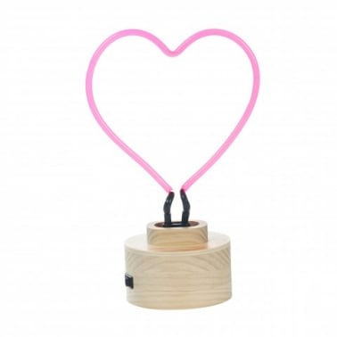Neon Heart Table Lamp, Wood Base, Red