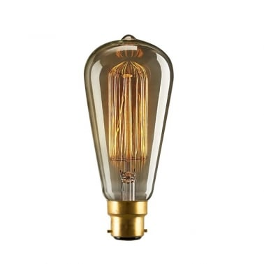 Vintage Squirrel Cage Filament Light Bulb ST64 - B22