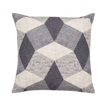 Geometric Penrose Design Fabric Cushion, Grey