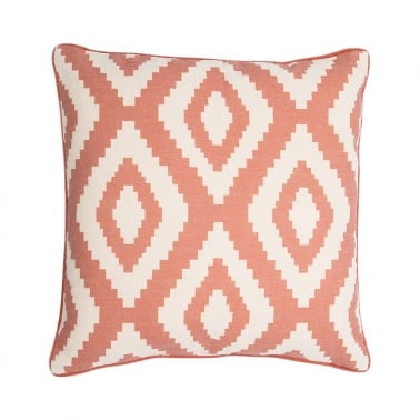 Aztec Diamond Design Fabric Cushion, Blush Pink