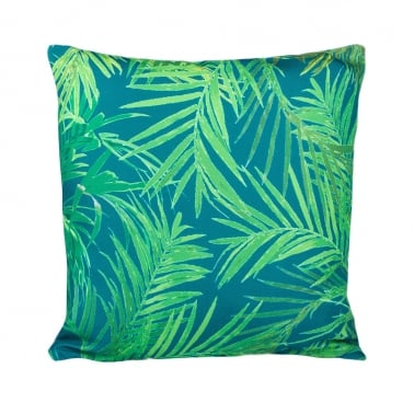 Palm Print Fabric Cushion, Blue and Green