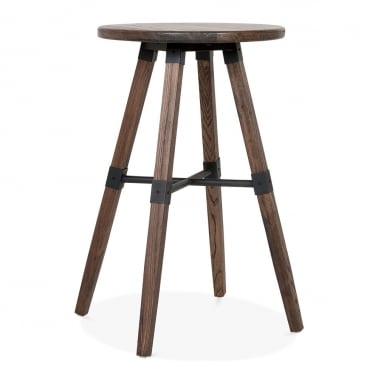 Bastille Round Wooden High Table - Brown