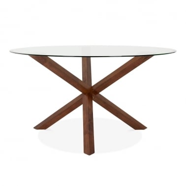 Annelie Glass Top Wooden Dining Table - Walnut 137cm