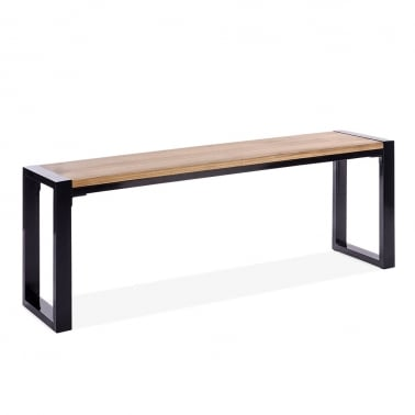 Gastro Metal Bench, Solid Elm Wood, Black 128cm