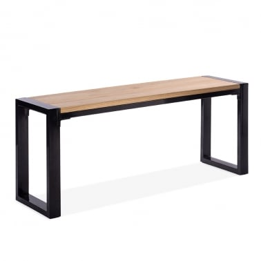 Gastro Metal Bench with Natural Wood Seat - Black 108cm