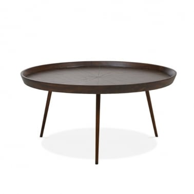 Aspen Large Round Coffee Table, Solid Acacia, Dark Brown
